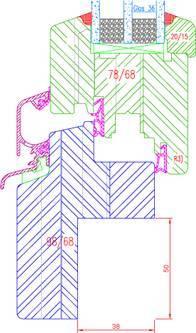 Fenêtre bois IV68 Feuillure rénovation 50 Intérieur: 50x38mm