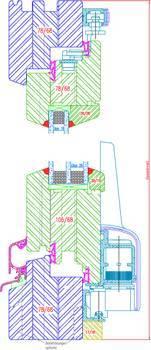 Fenêtre bois IV68 Porte oscillo-coulissante (PSK) : coupe horizontale