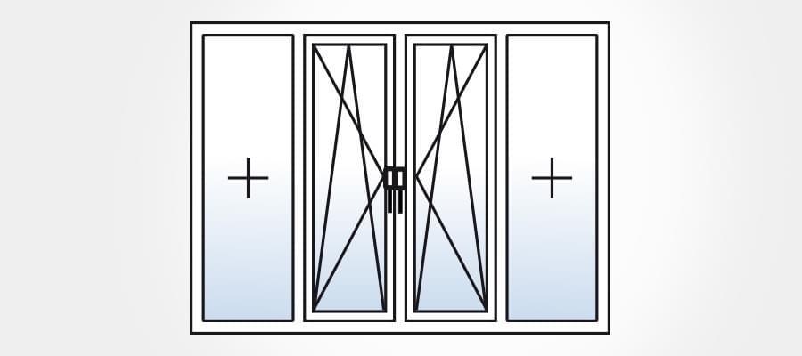 porte fen tre 4 vantaux dont 2 fixes. Black Bedroom Furniture Sets. Home Design Ideas