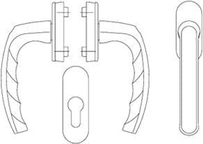 Poignée porte balcon avec serrure extérieure adaptée pour utilisation sans volet roulant